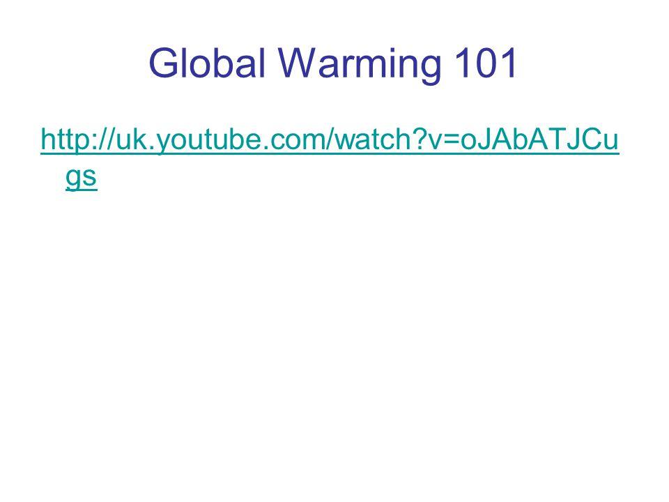 Global Warming 101 http://uk.youtube.com/watch?v=oJAbATJCu gs