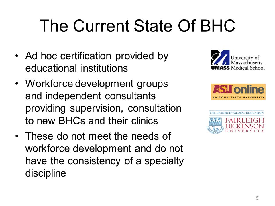 8 The Current State Of BHC Ad hoc certification provided by educational institutions Workforce development groups and independent consultants providin
