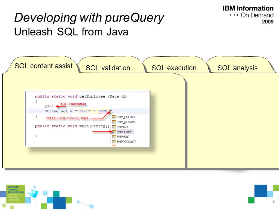 7 SQL analysisSQL execution Developing with pureQuery Unleash SQL from Java SQL validation