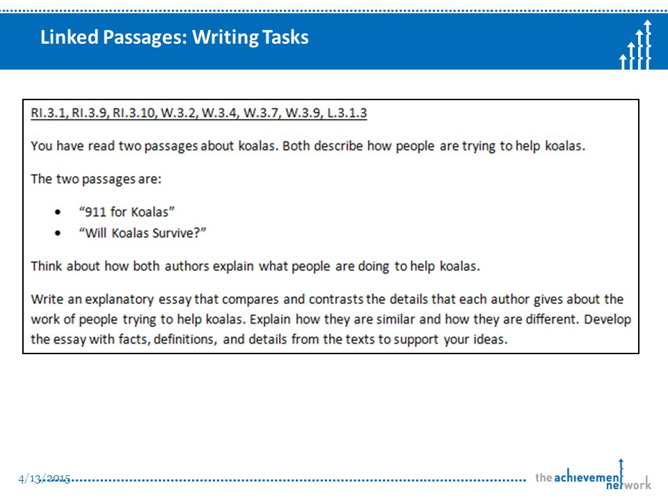 Linked Passages: Writing Tasks 4/13/2015