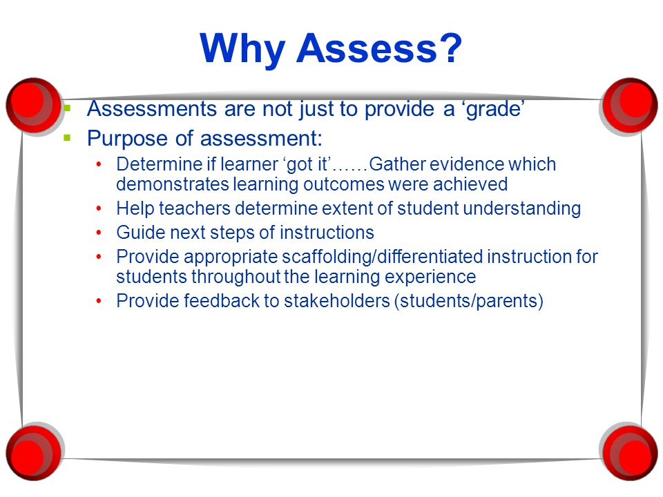 Why Assess.