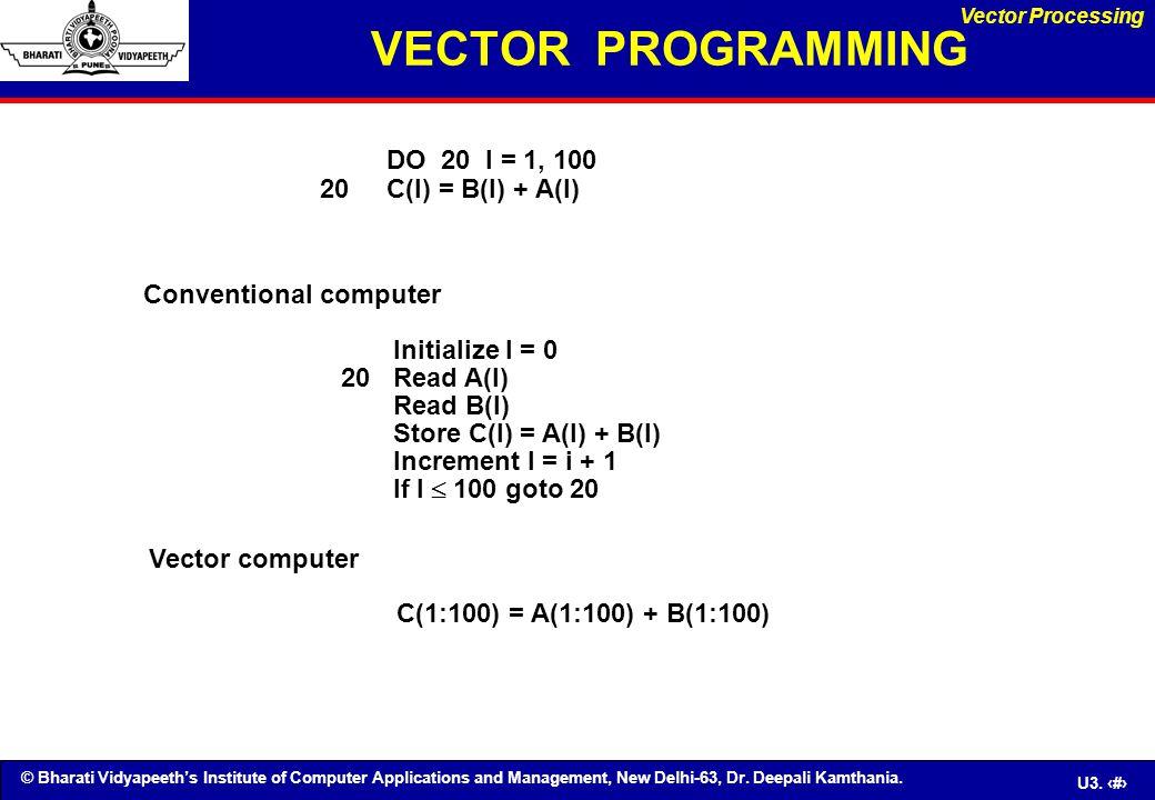 © Bharati Vidyapeeth's Institute of Computer Applications and Management, New Delhi-63, Dr. Deepali Kamthania. U3. 34 VECTOR PROGRAMMING DO 20 I = 1,