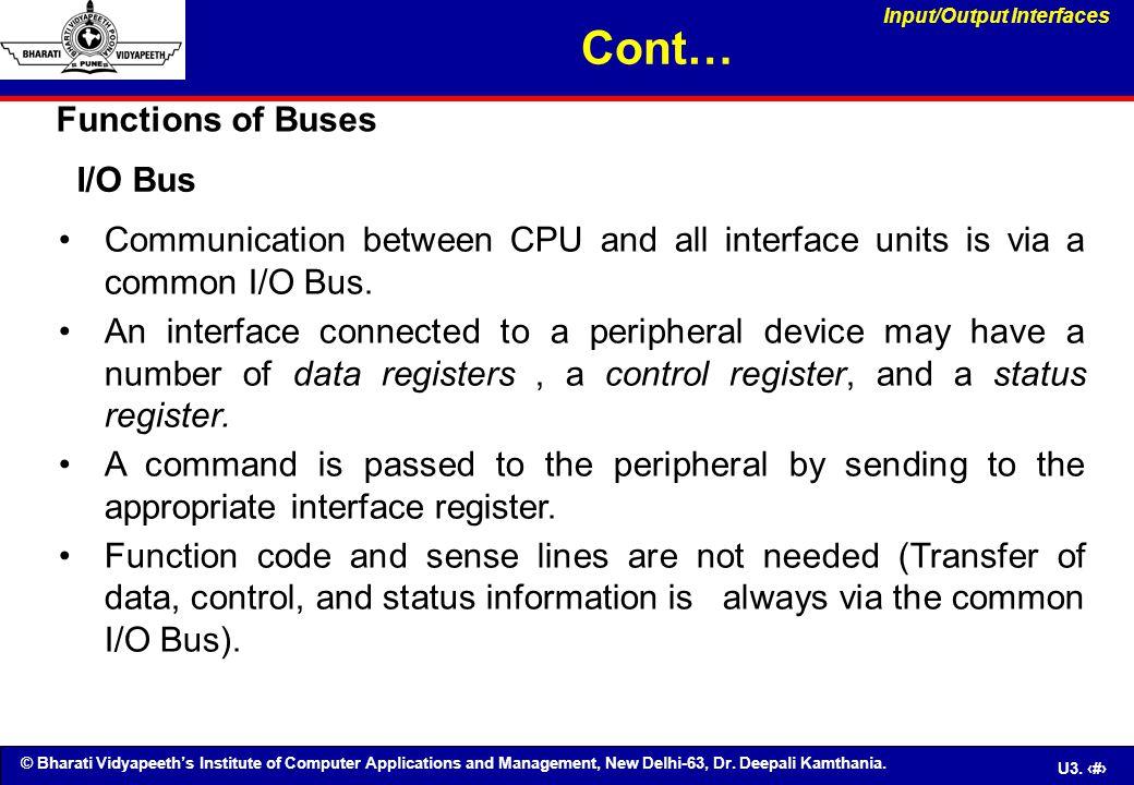 © Bharati Vidyapeeth's Institute of Computer Applications and Management, New Delhi-63, Dr. Deepali Kamthania. U3. 51 Communication between CPU and al