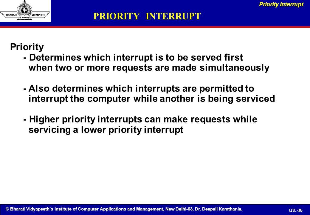 © Bharati Vidyapeeth's Institute of Computer Applications and Management, New Delhi-63, Dr. Deepali Kamthania. U3. 70 PRIORITY INTERRUPT Priority - De
