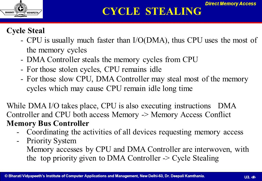 © Bharati Vidyapeeth's Institute of Computer Applications and Management, New Delhi-63, Dr. Deepali Kamthania. U3. 83 Cycle Steal - CPU is usually muc