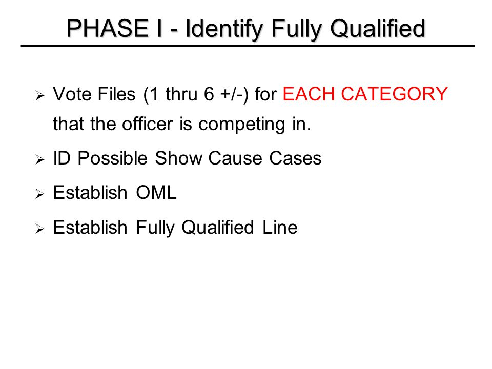  Vote Files (1 thru 6 +/-) for EACH CATEGORY that the officer is competing in.