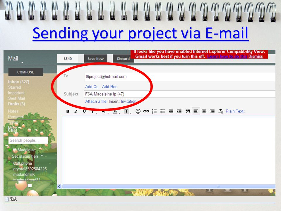 Sending your project via E-mail