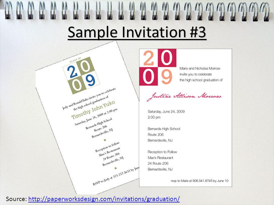 Source: http://paperworksdesign.com/invitations/graduation/http://paperworksdesign.com/invitations/graduation/ Sample Invitation #3