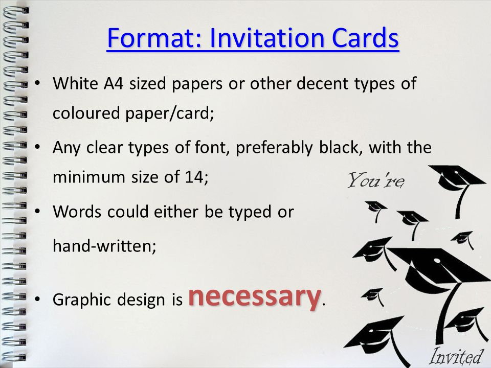 White A4 sized papers or other decent types of coloured paper/card; Any clear types of font, preferably black, with the minimum size of 14; Words coul