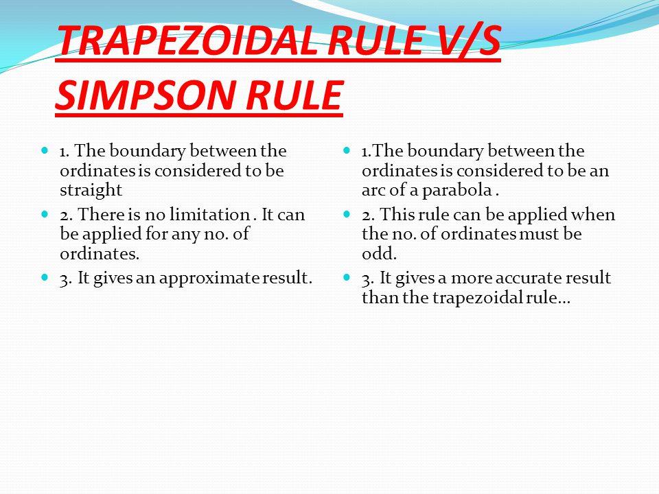 TRAPEZOIDAL RULE V/S SIMPSON RULE 1.