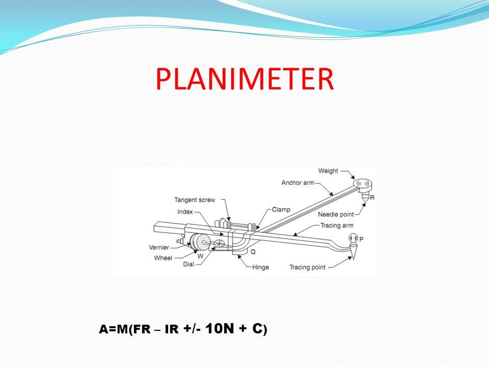 PLANIMETER A=M(FR – IR +/- 10N + C )