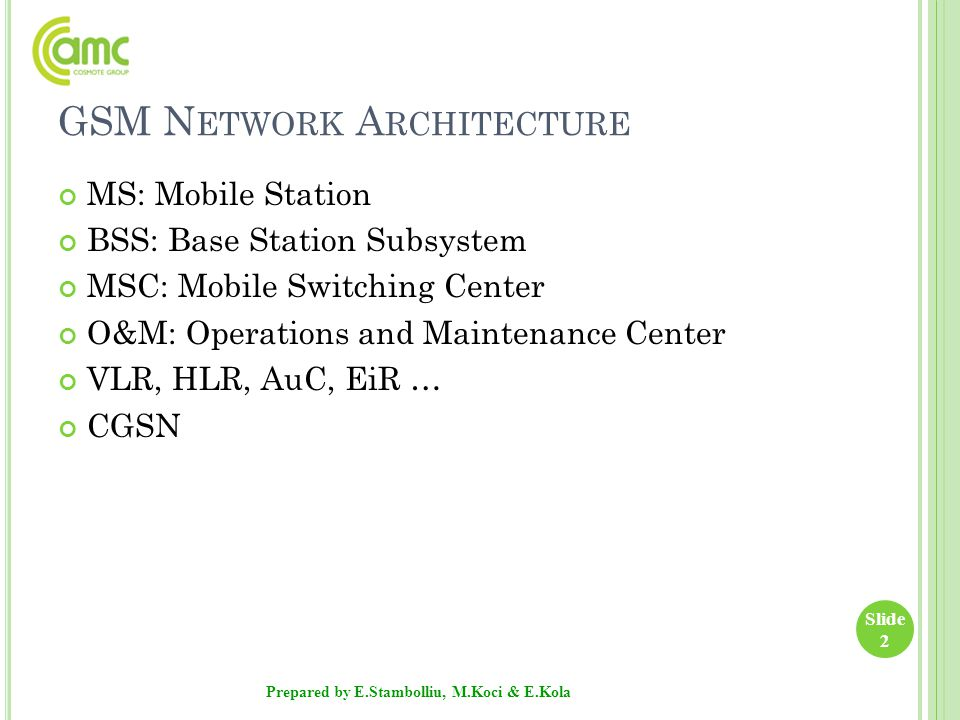 GSM N ETWORK A RCHITECTURE MS: Mobile Station BSS: Base Station Subsystem MSC: Mobile Switching Center O&M: Operations and Maintenance Center VLR, HLR