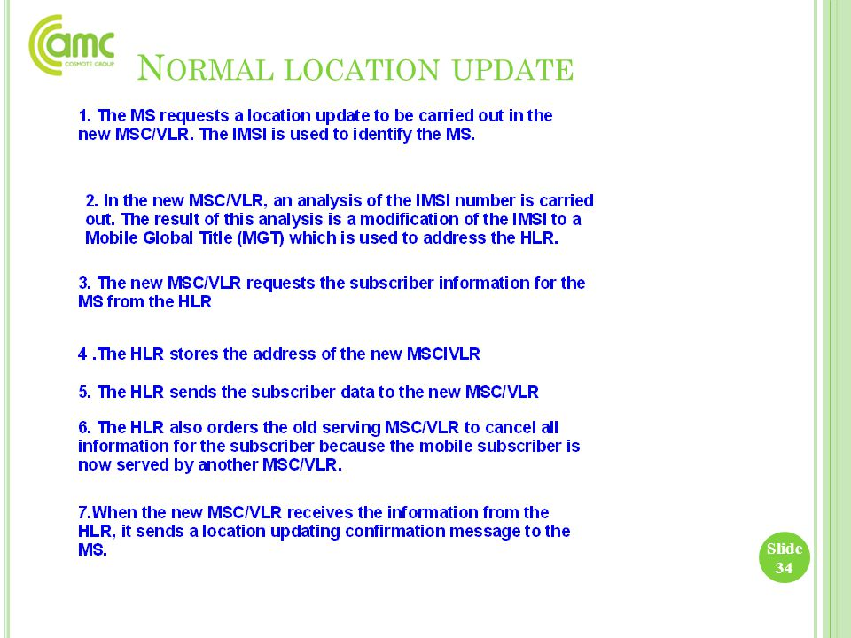 Slide 34 N ORMAL LOCATION UPDATE
