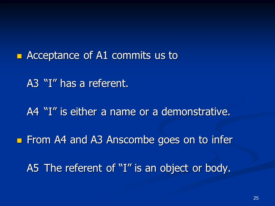 25 Acceptance of A1 commits us to Acceptance of A1 commits us to A3 I has a referent.