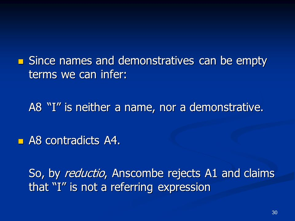 30 Since names and demonstratives can be empty terms we can infer: Since names and demonstratives can be empty terms we can infer: A8 I is neither a name, nor a demonstrative.