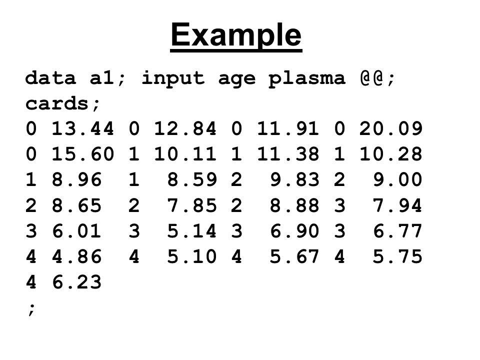data a1; input age plasma @@; cards; 0 13.44 0 12.84 0 11.91 0 20.09 0 15.60 1 10.11 1 11.38 1 10.28 1 8.96 1 8.59 2 9.83 2 9.00 2 8.65 2 7.85 2 8.88