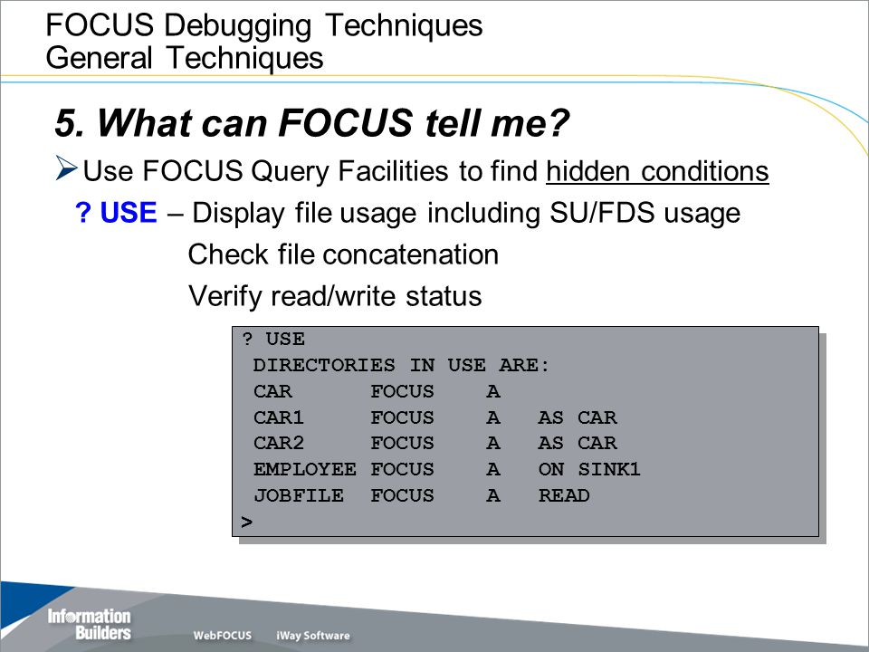 FOCUS Debugging Techniques General Techniques 5. What can FOCUS tell me?  Use FOCUS Query Facilities to find hidden conditions ? USE – Display file u