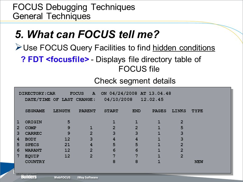 FOCUS Debugging Techniques General Techniques 5. What can FOCUS tell me?  Use FOCUS Query Facilities to find hidden conditions ? FDT - Displays file