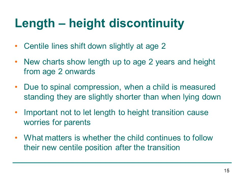 15 Length – height discontinuity Centile lines shift down slightly at age 2 New charts show length up to age 2 years and height from age 2 onwards Due