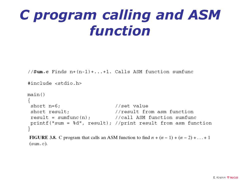 E. Kirshin C program calling and ASM function