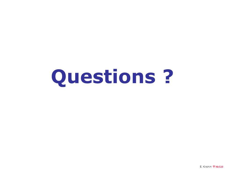 E. Kirshin Questions ?