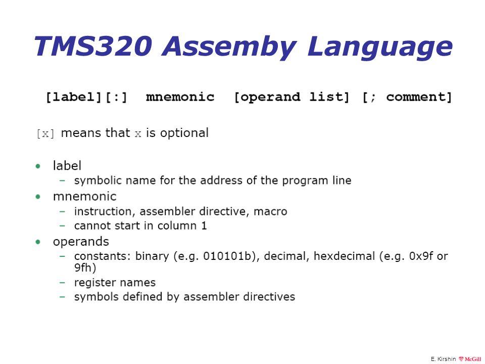 E. Kirshin TMS320 Assemby Language