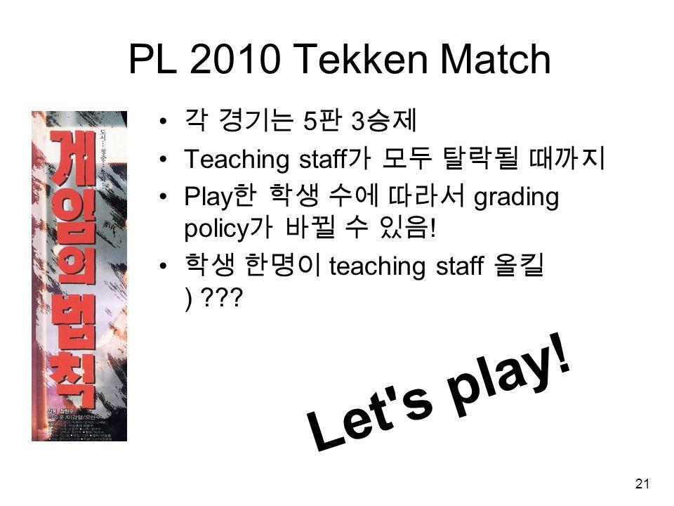 21 PL 2010 Tekken Match 각 경기는 5 판 3 승제 Teaching staff 가 모두 탈락될 때까지 Play 한 학생 수에 따라서 grading policy 가 바뀔 수 있음 .