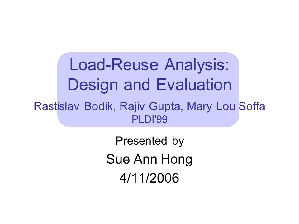 Load-Reuse Analysis: Design and Evaluation Rastislav Bodik, Rajiv Gupta, Mary Lou Soffa PLDI 99 Presented by Sue Ann Hong 4/11/2006