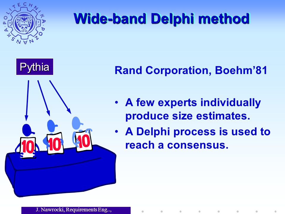 J. Nawrocki, Requirements Eng.., Lecture 12 Wide-band Delphi method Rand Corporation, Boehm'81 A few experts individually produce size estimates. A De