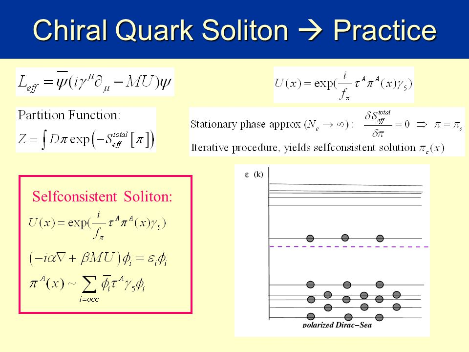 Simplest effective Lagrangean Chiral Quark Soliton Model (ChQSM): Pseudo-scalar pion- Kaon-Goldstone field Invariant: flavour vector transformation Not invariant: flavour axial transformation Invariant: flavour vector transformation and axial transformation  U(x) must transform properly  U(x) exists