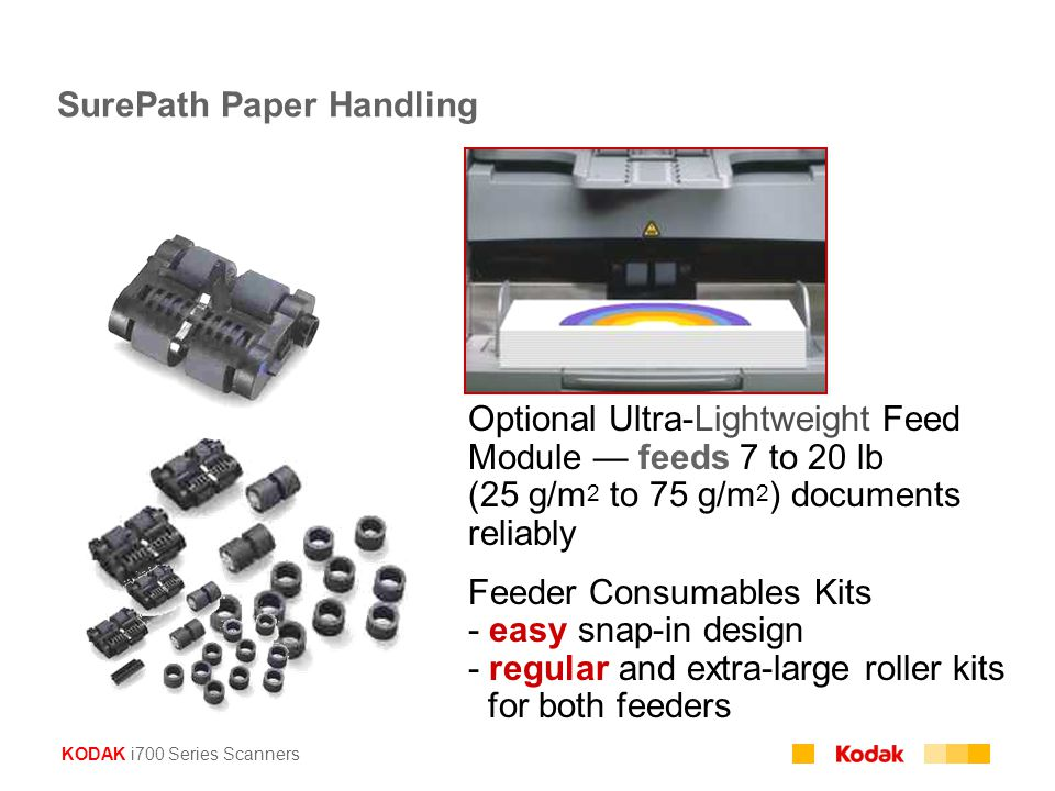 KODAK i700 Series Scanners SurePath Paper Handling Optional Ultra-Lightweight Feed Module — feeds 7 to 20 lb (25 g/m 2 to 75 g/m 2 ) documents reliably Feeder Consumables Kits - easy snap-in design - regular and extra-large roller kits for both feeders