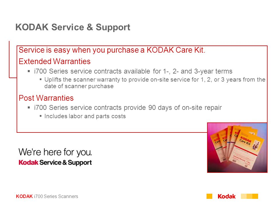 KODAK i700 Series Scanners Service is easy when you purchase a KODAK Care Kit.