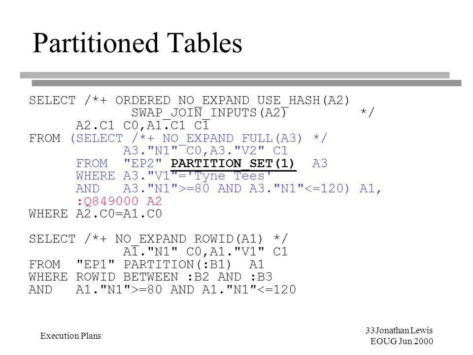 33Jonathan Lewis EOUG Jun 2000 Execution Plans Partitioned Tables SELECT /*+ ORDERED NO_EXPAND USE_HASH(A2) SWAP_JOIN_INPUTS(A2)*/ A2.C1 C0,A1.C1 C1 F