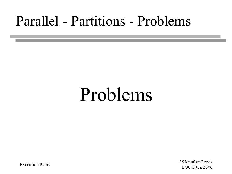 35Jonathan Lewis EOUG Jun 2000 Execution Plans Parallel - Partitions - Problems Problems
