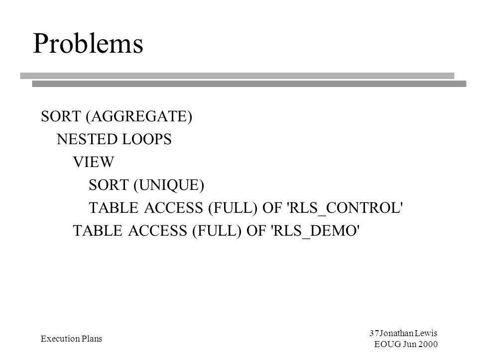 37Jonathan Lewis EOUG Jun 2000 Execution Plans Problems SORT (AGGREGATE) NESTED LOOPS VIEW SORT (UNIQUE) TABLE ACCESS (FULL) OF 'RLS_CONTROL' TABLE AC