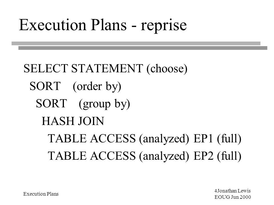 4Jonathan Lewis EOUG Jun 2000 Execution Plans Execution Plans - reprise SELECT STATEMENT (choose) SORT (order by) SORT (group by) HASH JOIN TABLE ACCE