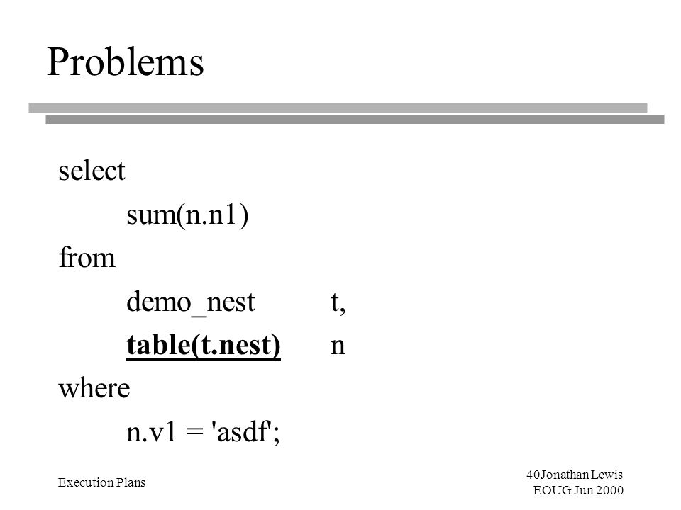 40Jonathan Lewis EOUG Jun 2000 Execution Plans Problems select sum(n.n1) from demo_nestt, table(t.nest)n where n.v1 = 'asdf';