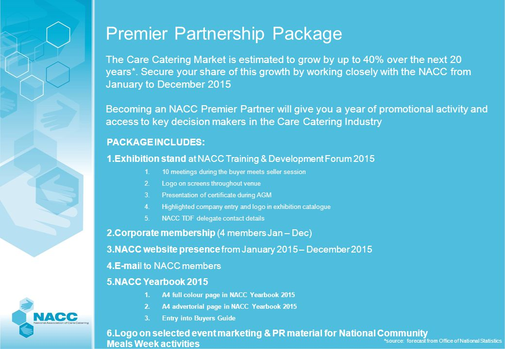 Full Residential Exhibitor Package for NACC Training & Development Forum 2015 3m x 2m stand space Single room accommodation for 2 people Breakfast & lunch for 2 people on both days 2 places at the Training Forum sessions 2 places at the pre-event themed networking evening 2 places at the Gala & Awards Dinner ¼ page ad included in the event catalogue Company details and logo in catalogue as an enhanced exhibitor listing Company logo on all plasmas rotating throughout the TDF venue for the duration of the event Minimum of 5 guaranteed selected appointments at the NACC Meet the Buyer Session Receive the contact details of all registered delegates who have authorised for their details to be shared