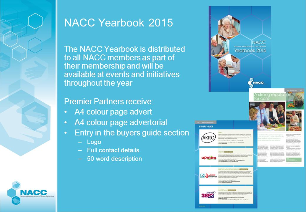 Website - www.thenacc.co.uk Your company entry in partners section of www.thenacc.co.uk –Logo –Link to your website –100 word description –image Your company on the home page www.thenacc.co.uk www.thenacc.co.uk Your company entry on the Buyers Guide section of the website –Logo –Link to your website –50 word description –image