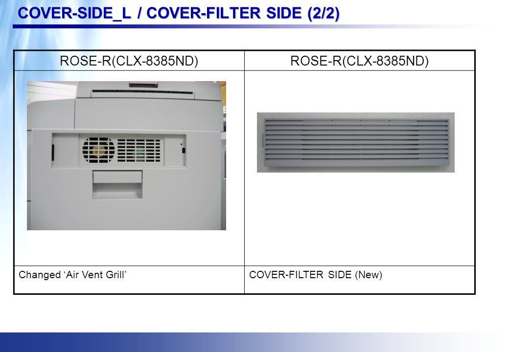 COVER-SIDE_L / COVER-FILTER SIDE (2/2) ROSE-R(CLX-8385ND) Changed 'Air Vent Grill'COVER-FILTER SIDE (New)