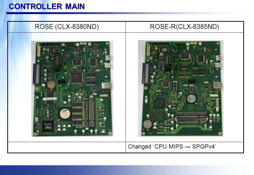 CONTROLLER MAIN ROSE (CLX-8380ND)ROSE-R(CLX-8385ND) Changed 'CPU MIPS → SPGPv4'