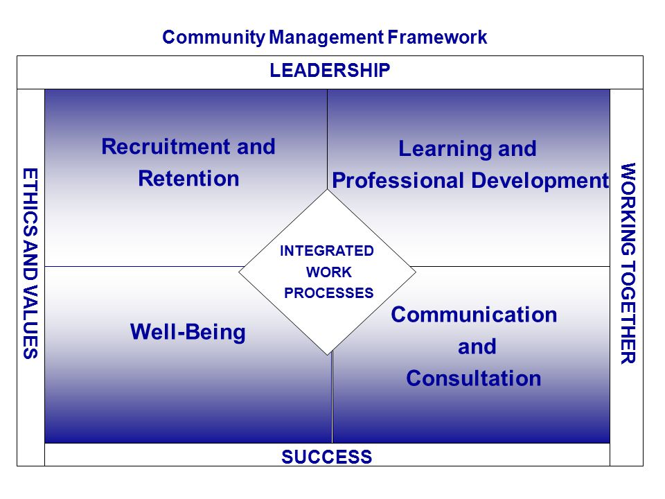 Recruitment and Retention Workforce Analysis Common Structure and Generic WDs Standard Statements of Merit Criteria Recruitment and Staffing Programs Security and OL Requirements Orientation Program Succession Management New Hire and Exit Interviews Learning and Professional Development Competency-Based Management Personal Learning Plans Performance Management Scholarship Program Apprenticeship, Entry-level Officer Development Programs Career/Leadership Development Knowledge Transfer Well-Being Physical environment: OH&S, accommodation in workplace Work practices: acting/ assignment opportunities, workload management Work-Life harmony: Alternate Work Arrangements (AWAs) Personal state: EAP, Compensation and Benefits Communication & Consultation Community meetings Mentoring Networking Conferences Professional Associations INTEGRATED WORK PROCESSES SUCCESS – ACTIVE PARTICIPATION Individual, Organizational and Functional Community ETHICS AND VALUES WORKING TOGETHER Partnerships, Effective Relationships Community Management Framework LEADERSHIP – HR Planning, Functional Direction, Management Support