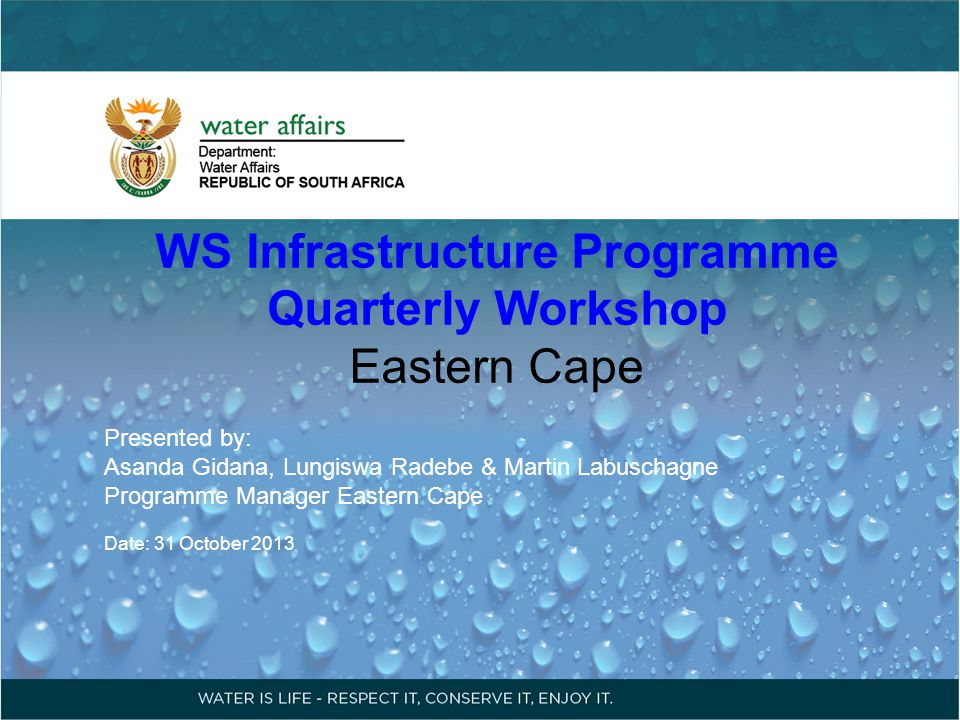 WS Infrastructure Program: Quarterly Workshop Contents A: Expenditure Status 2013/14 1.RBIG 2.MWIG 3.ACIP 4.NTP B: Key Challenges C: Feedback on letter sent on 9 September 2013 D: Project to be Fast Track E: Projects to be Launched F: Way forward