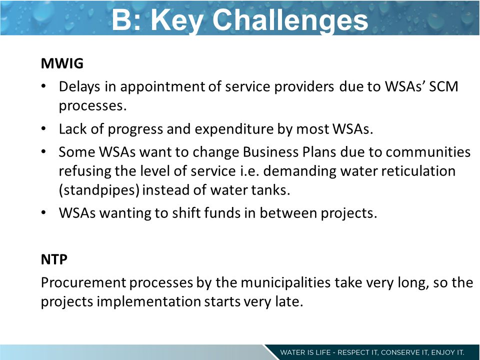 B: Key Challenges MWIG Delays in appointment of service providers due to WSAs' SCM processes. Lack of progress and expenditure by most WSAs. Some WSAs