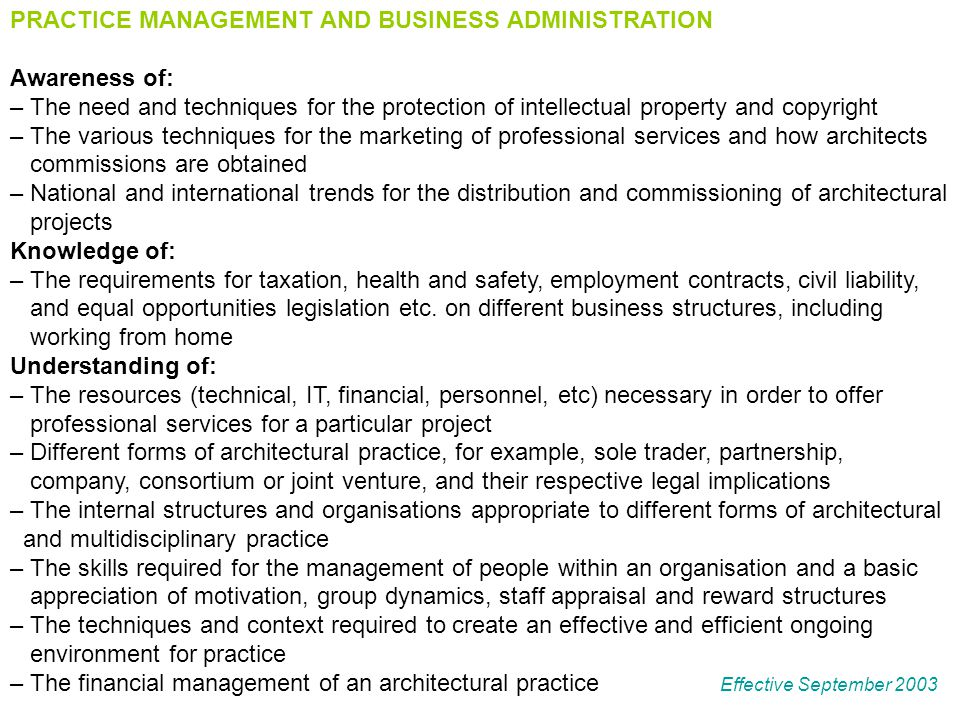 PRACTICE MANAGEMENT AND BUSINESS ADMINISTRATION Awareness of: – The need and techniques for the protection of intellectual property and copyright – Th