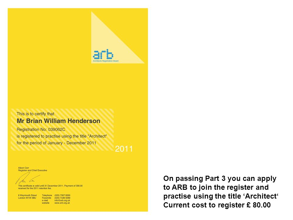 On passing Part 3 you can apply to ARB to join the register and practise using the title 'Architect' Current cost to register £ 80.00