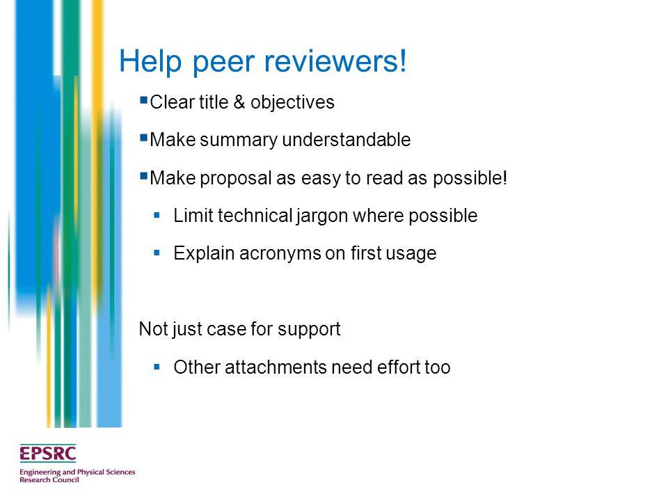 Help peer reviewers.