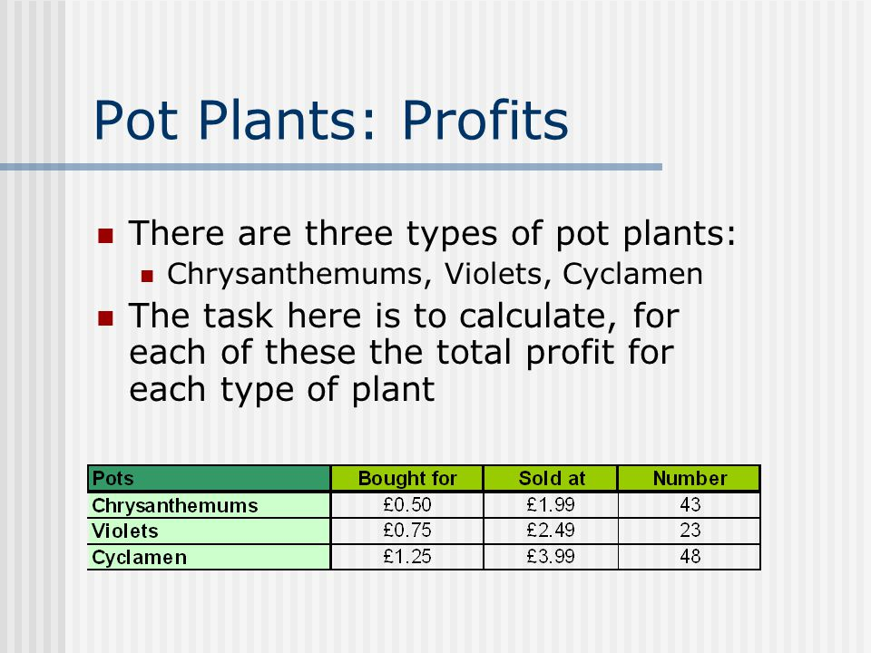 Pot Plants: Profits There are three types of pot plants: Chrysanthemums, Violets, Cyclamen The task here is to calculate, for each of these the total