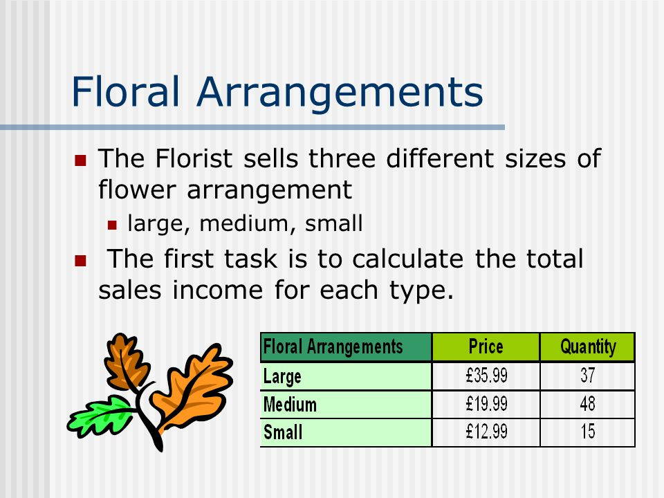 Floral Arrangements The Florist sells three different sizes of flower arrangement large, medium, small The first task is to calculate the total sales