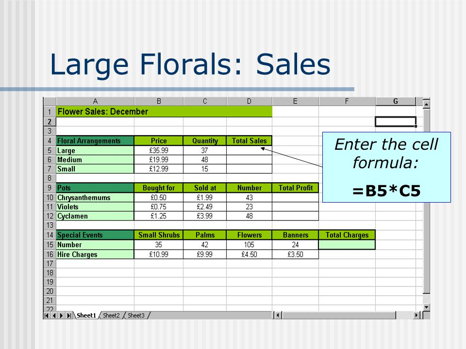 Large Florals: Sales Enter the cell formula: =B5*C5